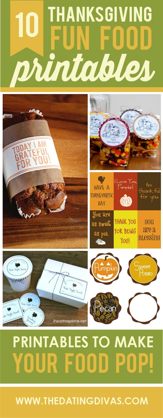 10 thanksgiving food printables