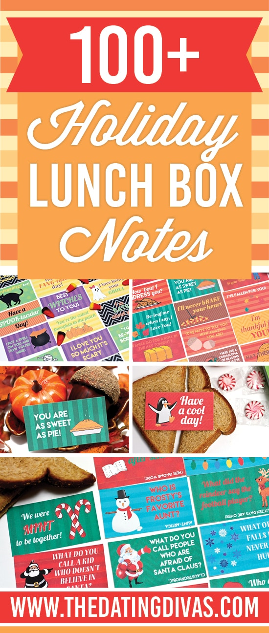 Holiday themed lunch box notes.