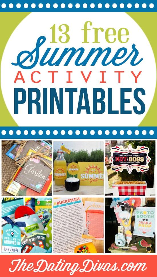 13 Free Summer Activity Printables