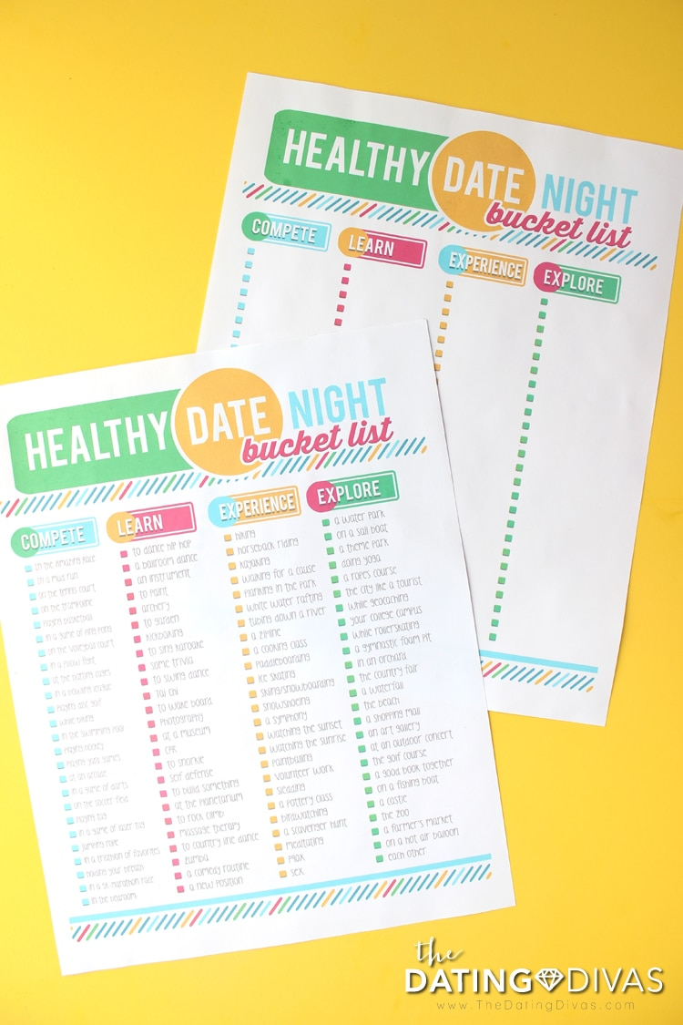 2 Healthy Date Night Bucket Lists
