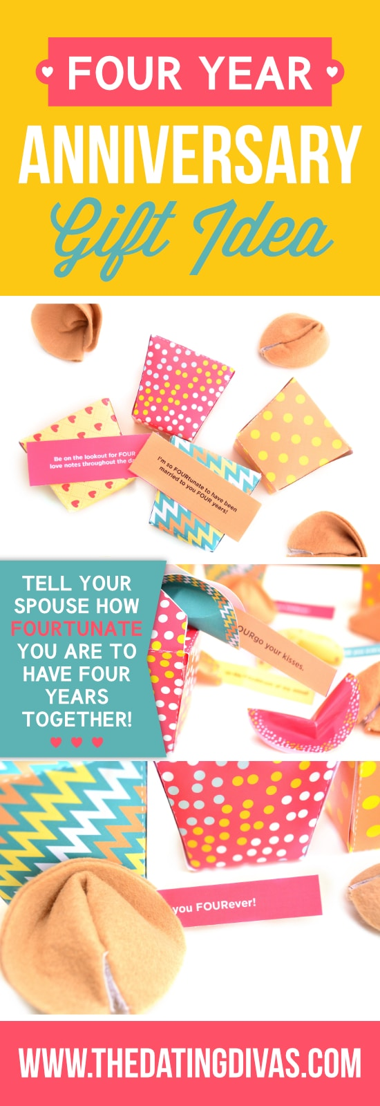 Tell your spouse how FOURtunate you are to have been together 4 years!