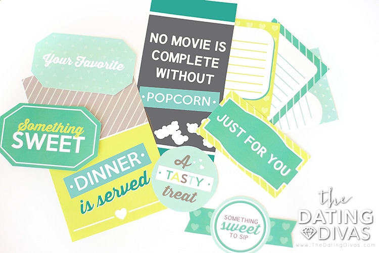 Printables for dinner, treats, and a movie!