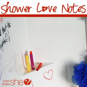 A review on the website: HowDoesShe? featuring this shower love notes post.