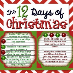 The 12 Days of Christmas printables.