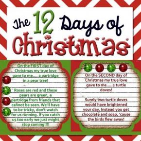 The 12 Days of Christmas printables.