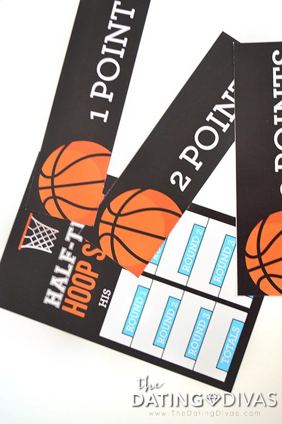 Half-Time Hoop-Shoot score sheet.