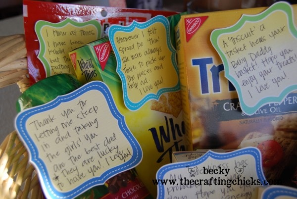 Baby Daddy gift basket treats with printable tags