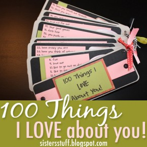 100 Things I Love About You DIY homemade gift idea.