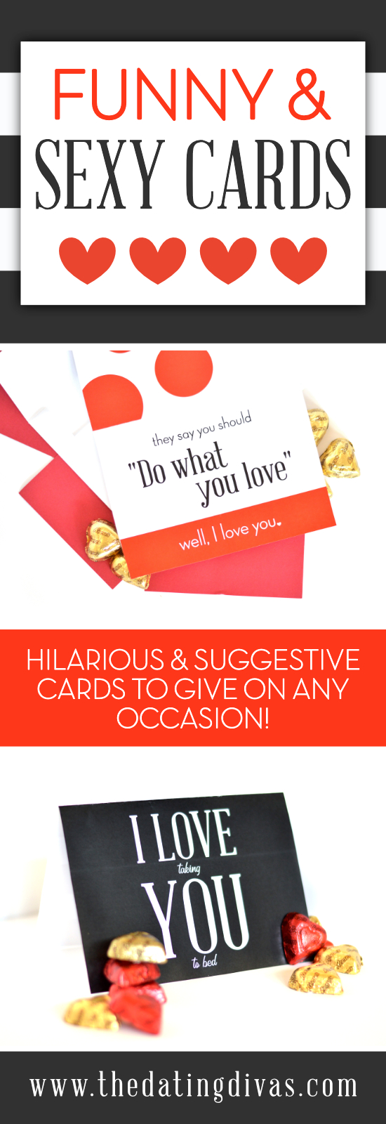 Sexy and funny cards to give your spouse for any special occasion. Hilarious and suggestive card ideas are perfect last minute gifts for a birthday or anniversary! Put a smile on your significant other's face with these FREE sexy and funny printable cards! #TheDatingDivas #funnycards #sexycard #sexyandfunny