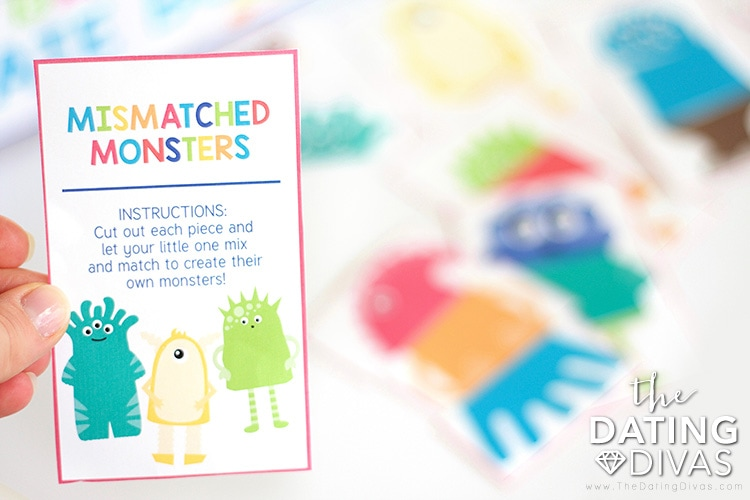 Mismatched Monsters Printable Toddler Game