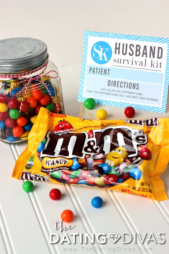 Husband Survival Kit with M&M's