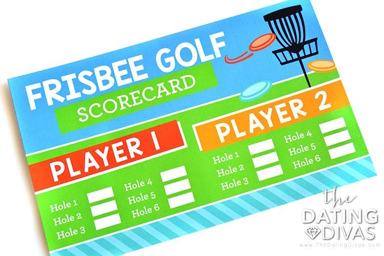 Frisbee golf date night score card