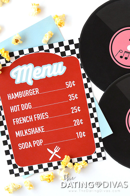 50's Style Diner Date Menu