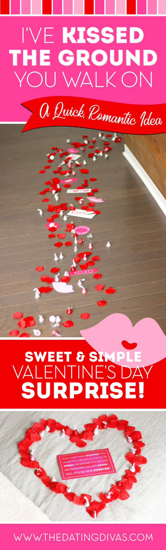 Kissed the Ground You Walk On Valentine's Day Surprise #romanticvalentines #vdayidea