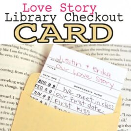 Library card checkout DIY Anniversary date idea.