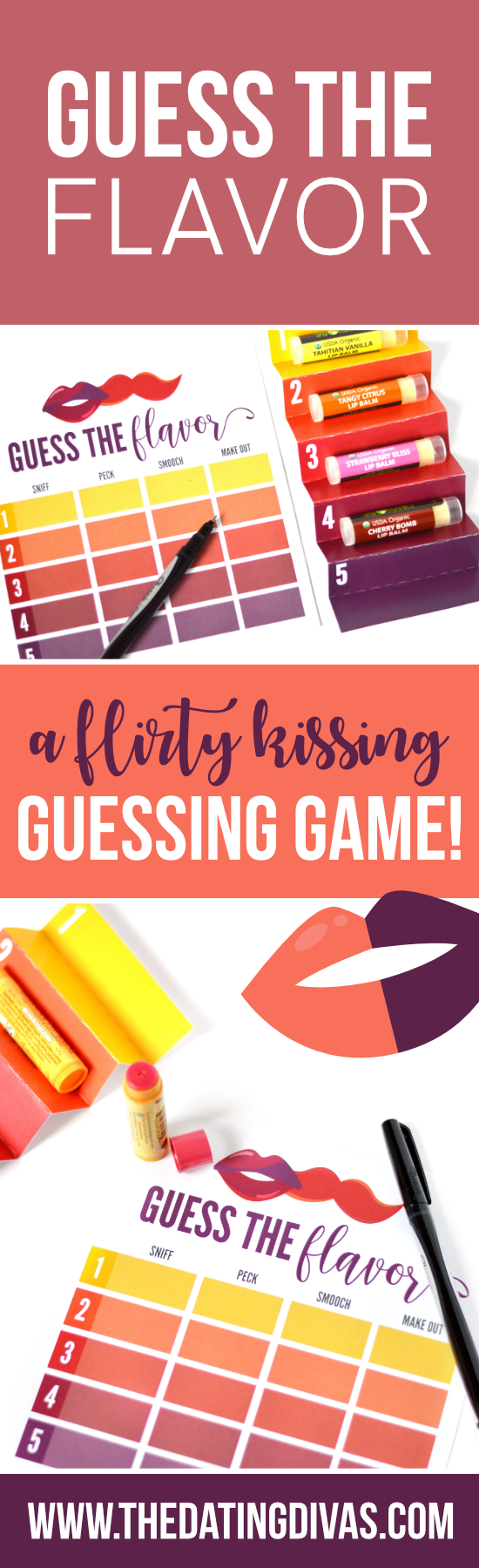 A sexy kissing game for the bedroom called Guess the Flavor #sexykissinggames #foreplaygame