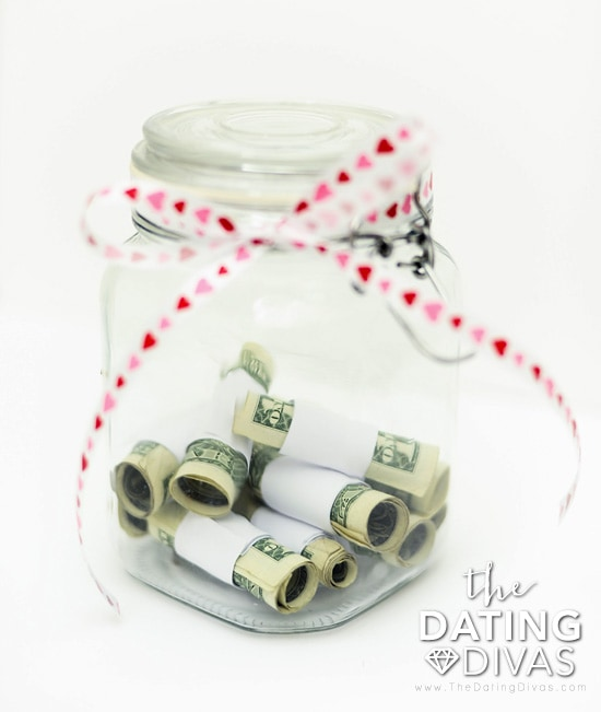 Dollar bills in Date Night Jar