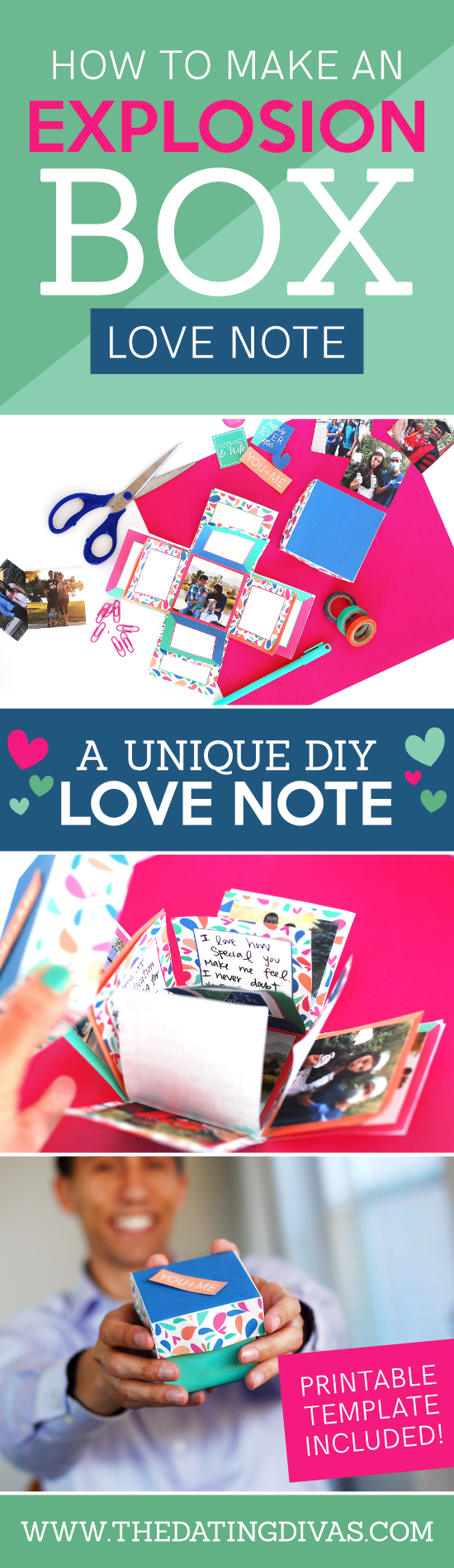 A super easy DIY explosion box tutorial with detailed instructions, ideas and even a printable template! An easy tutorial to learn how to make your own exploding box card and fill the 24+ flaps with pictures and personalized messages for your love! #explodingbox #explosionbox #Giftforboyfriend #giftforspouse #giftidea