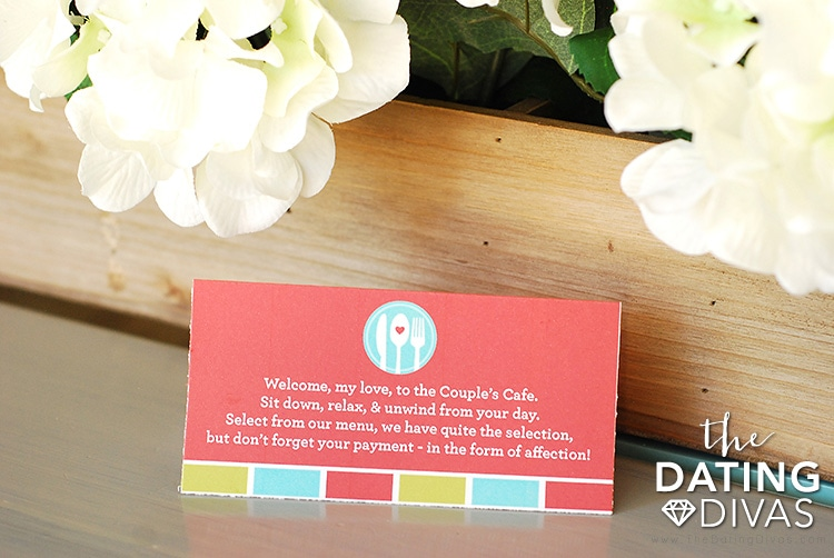 Couple's Cafe Dinner Date Place Card