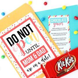 Kid Date Night Envelope Chocolate Games