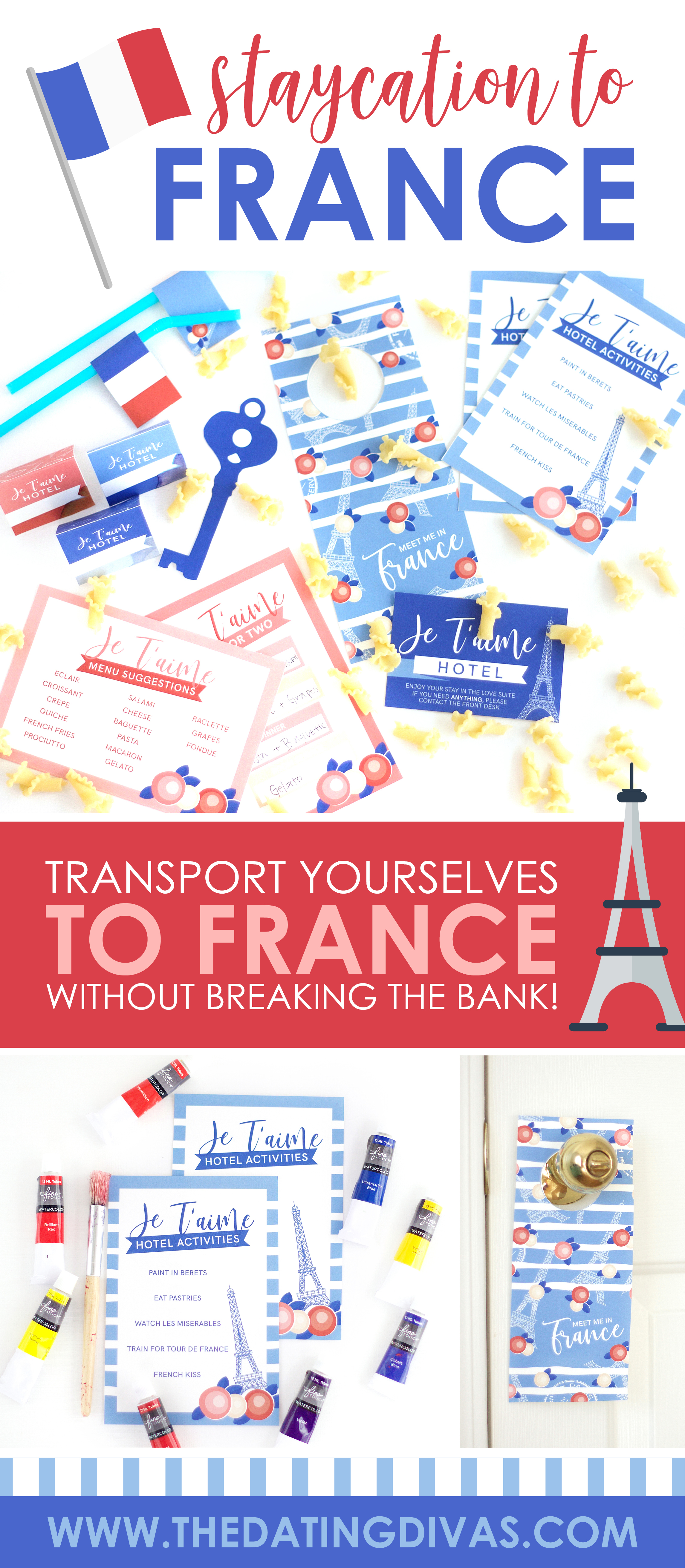 Travel to France TONIGHT! Transport yourselves with this fun, themed staycation! #staycationideas #staycation
