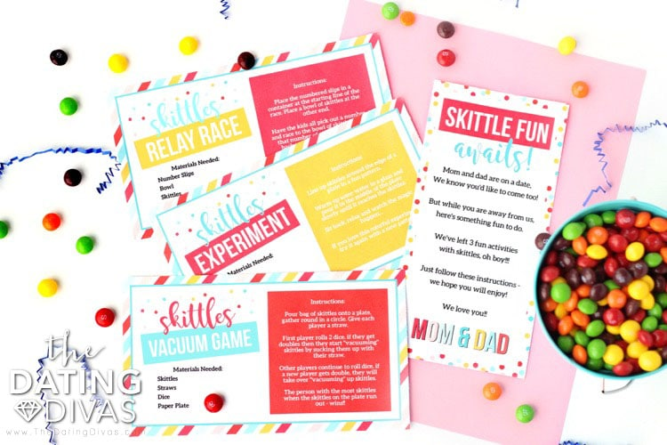 Kid Date Night Envelope Skittles Activities