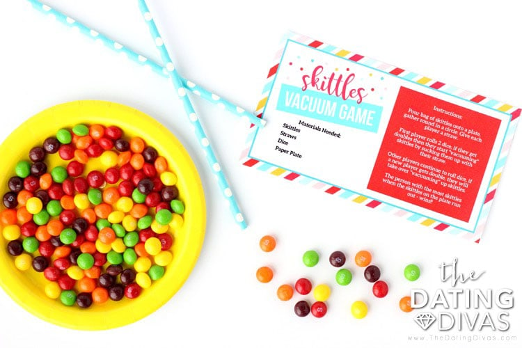 Kid Date Night Envelope Skittles Vacuum Game