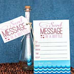 Secret Message in a Bottle printables - a quick and easy romance idea.