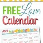 Free April LOVE Calendar