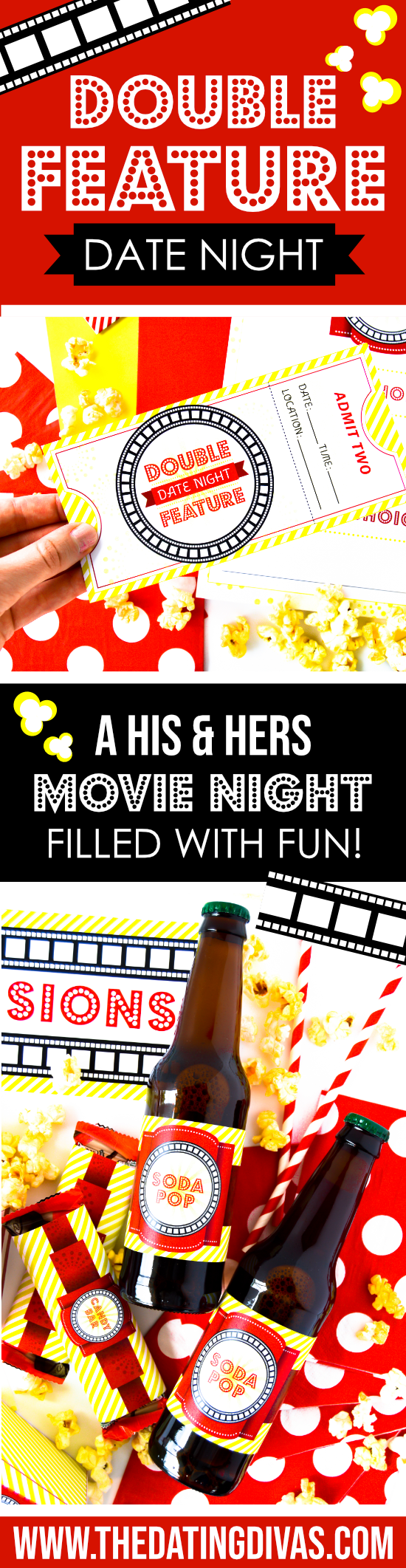 Loving this double feature movie date idea! Free printables and can be done at-home... win win! #TheDatingDivas #DoubleFeatureMovieDate #DateNight