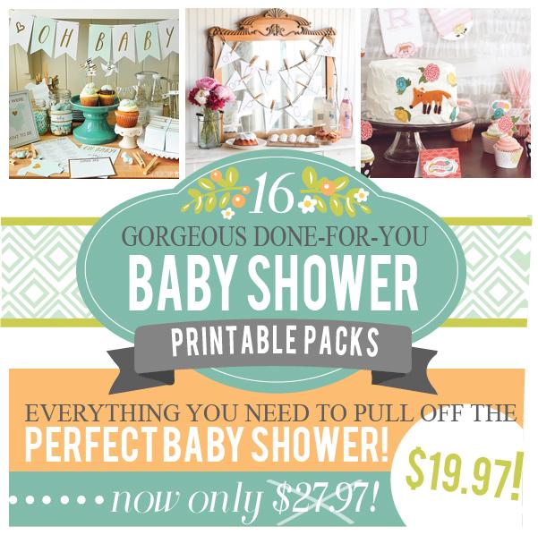 16 baby shower printable packs for Baby shower decoration packs