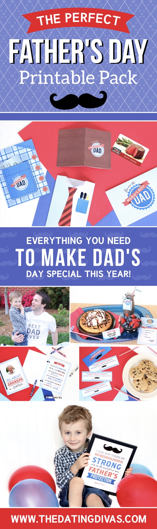 This Happy Father's Day Printable Pack has everything from Father's Day cards, to quotes, to a cute iron-on t-shirt and even a Happy Father's Day coupons printable book! #FathersDay #HappyFathersDayPartyPack