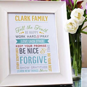 DIY Family Mission Statement printable craft idea.