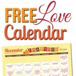 Free November LOVE Calendar