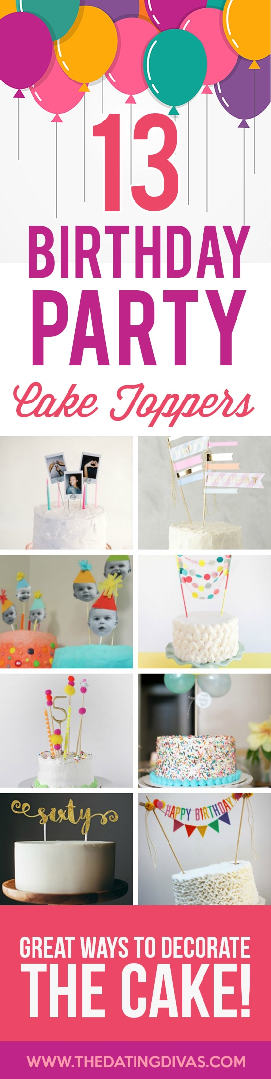 Birthday Party Cake Toppers