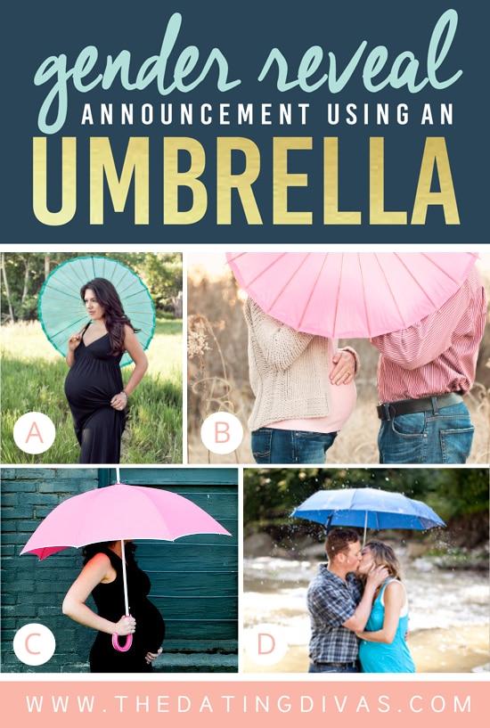 Gender Reveal Announcement Using an Umbrella