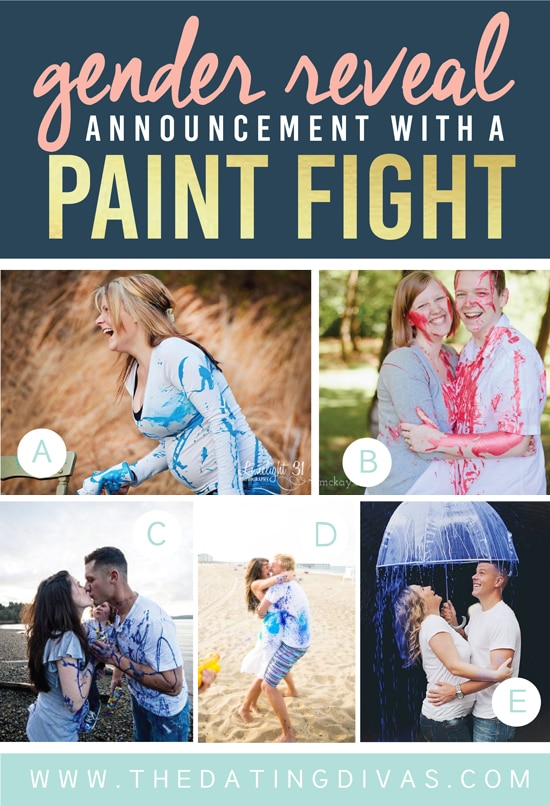 Cute Gender Reveal Announcement with a Paint Fight