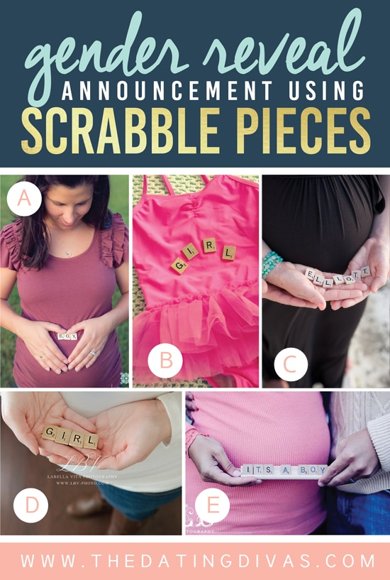 Gender Reveal Announcement Using Scrabble Pieces