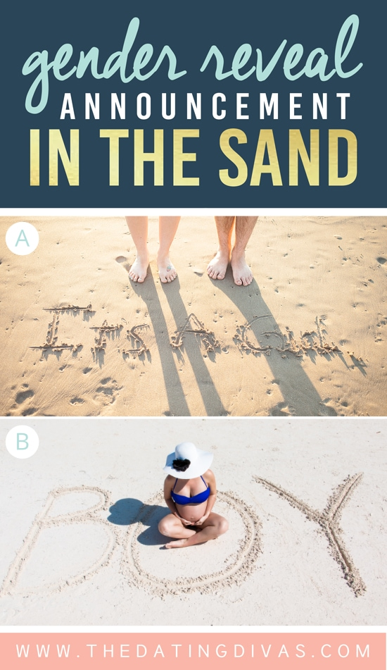 Cute Gender Reveal Announcement in the Sand