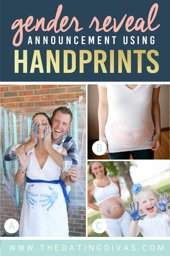 Gender Reveal Announcement Using Painted Handprints