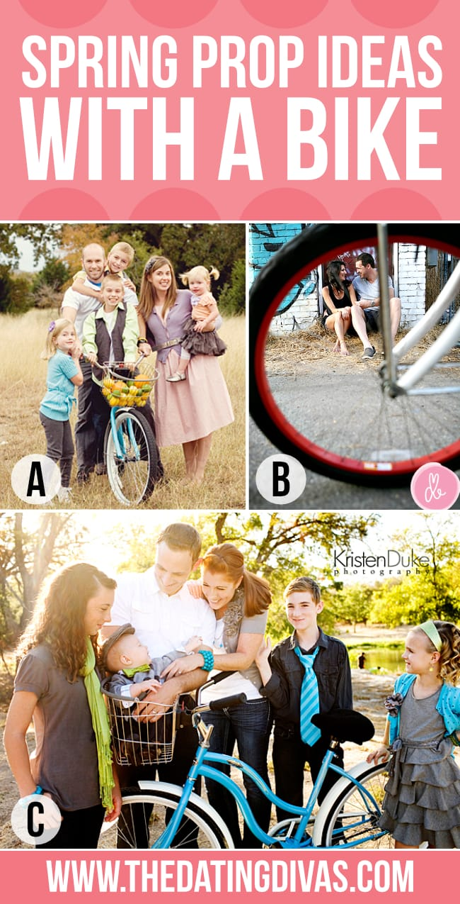 spring family picture ideas using a bike