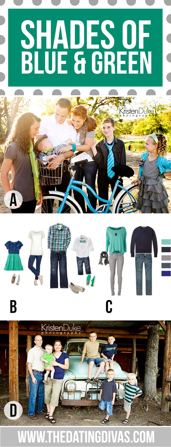 What to Wear for Family Pictures Shades of Blue and Green