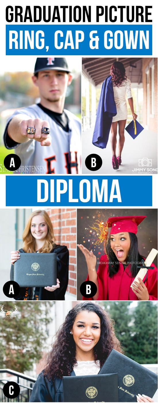 Graduation Picture Ideas with Class Ring, Cap and Gown, and Diploma as props.