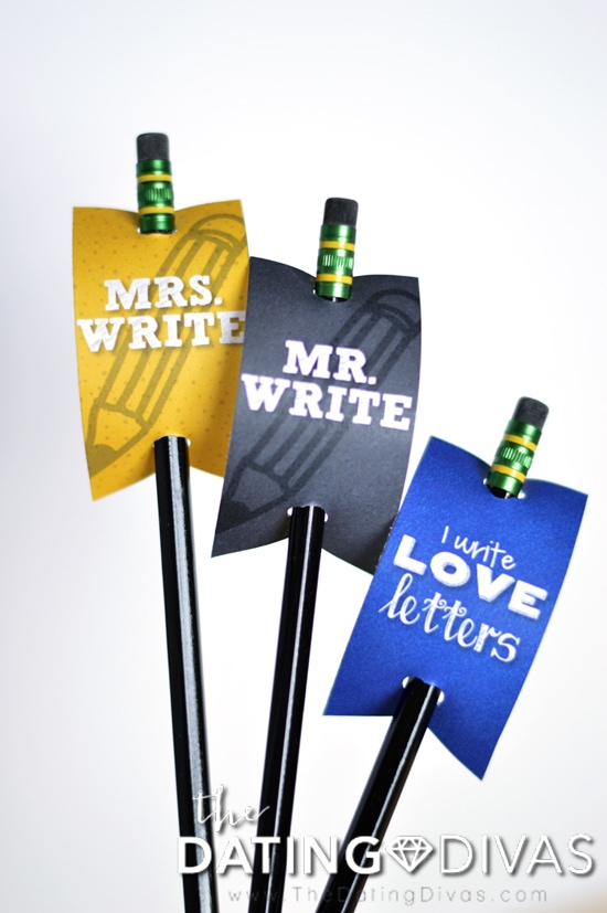 Mr. and Mrs. Write Pencil Toppers