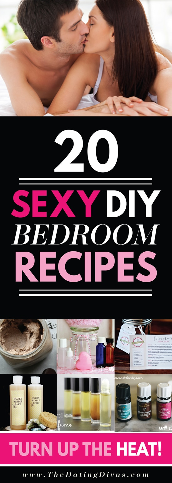 A super hot list of recipes for homemade lube, edible massage oil and MORE! Guaranteed to help you spice up the bedroom. #homemadelube #ediblemassageoil #diylube #thedatingdivas