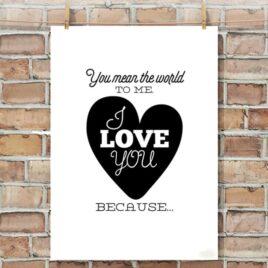Printable I Love You Poster