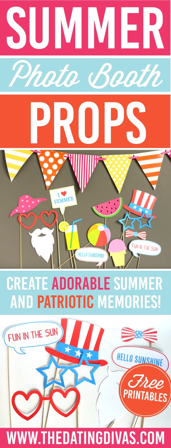 The cutest summer photo booth props printable for FREE! Love that there are patriotic printable photo booth props, too! #TheDatingDivas #PhotoBoothProps #PrintablePhotoBoothProps