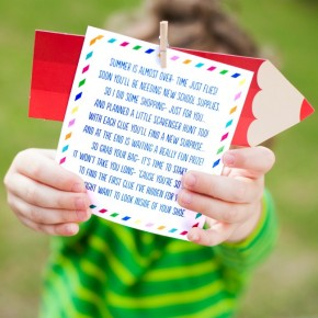 Printable clue cards for a fun school supply scavenger hunt