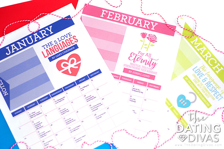 Printable Marriage Book Club calendar sheets