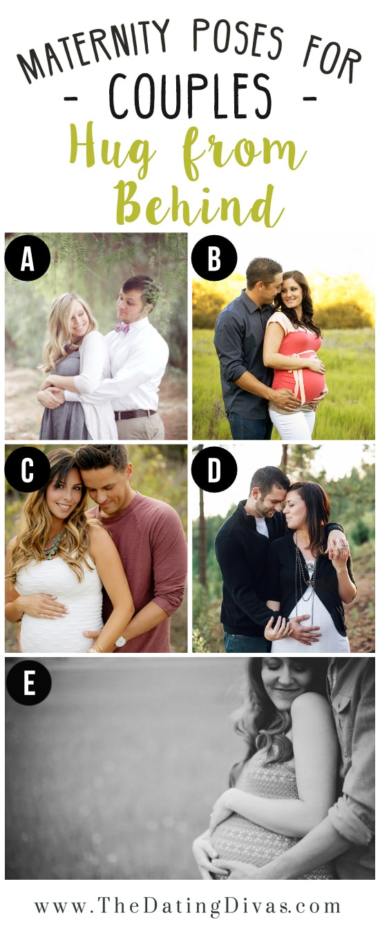 Hug From Behind Maternity Photo Pose Ideas for Couples